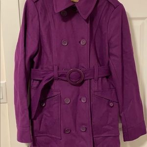 Beautiful purple double breasted trench coat.